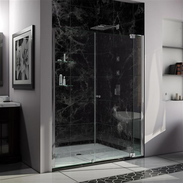 Porte de douche Allure de DreamLine, design sans cadre, 55-56 po, chrome
