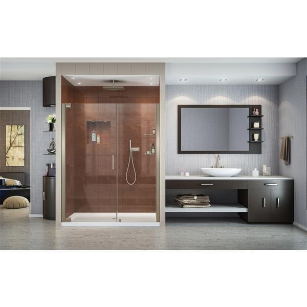DreamLine Elegance Shower Door - Frameless Design - 52.75-54.75-in - Brushed Nickel