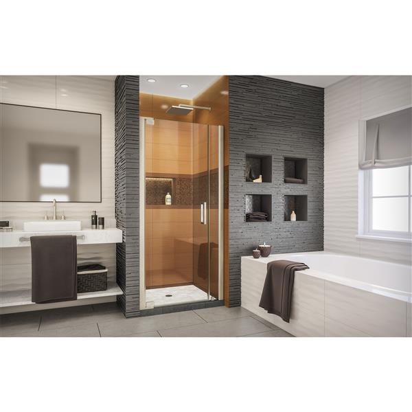 DreamLine Elegance-LS Shower Door - Frameless Design - 39.75-41.75-in - Brushed Nickel