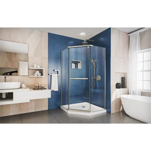 DreamLine Prism Shower Enclosure - Frameless Design - 38.13-in - Brushed Nickel