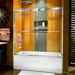 Porte de baignoire coulissante Sapphire de DreamLine, design avec cadre, 56-60 po, nickel brossé