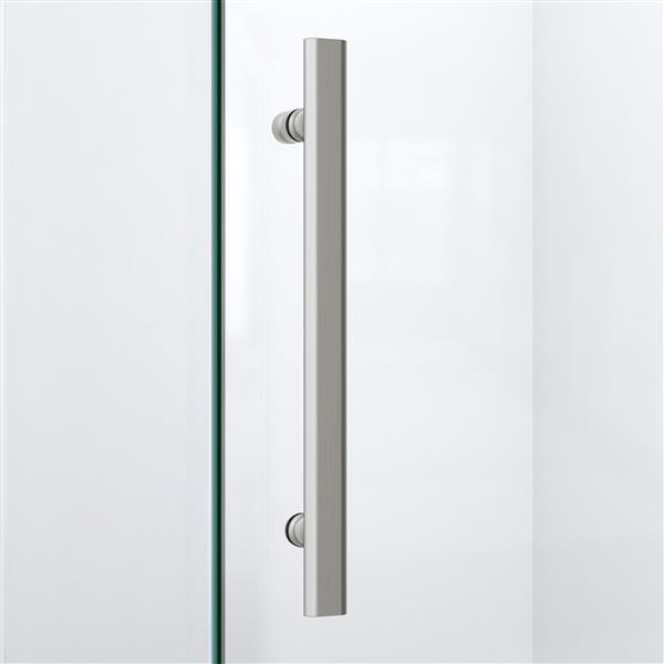 DreamLine Quatra Plus Shower Enclosure - Frameless Design - 52.38-in - Brushed Nickel