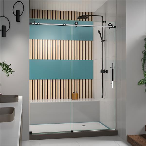 DreamLine Enigma-XT Shower Door - Frameless Design - 56-60-in - Tuxedo