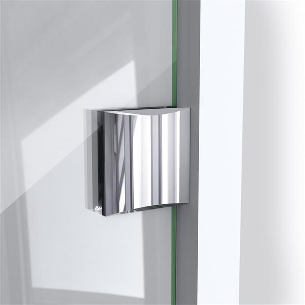 Paroi de douche Prism Lux de DreamLine, design sans cadre, 34,31 po, nickel brossé