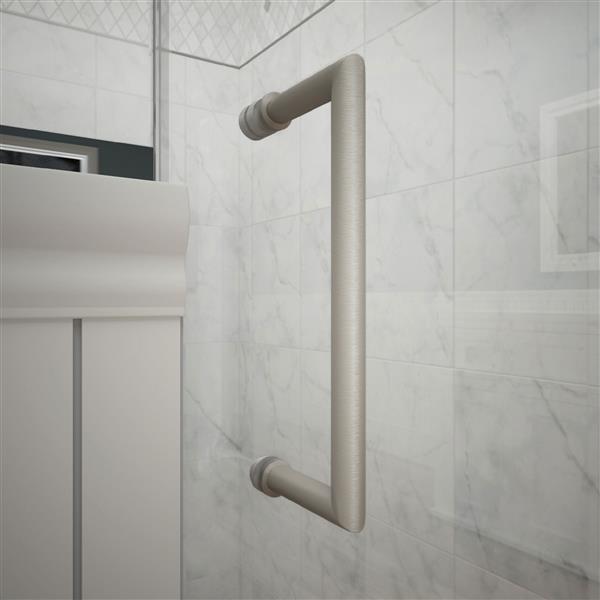 DreamLine Unidoor Plus Hinged Shower Enclosure - Frameless Design - 57-in - Brushed Nickel