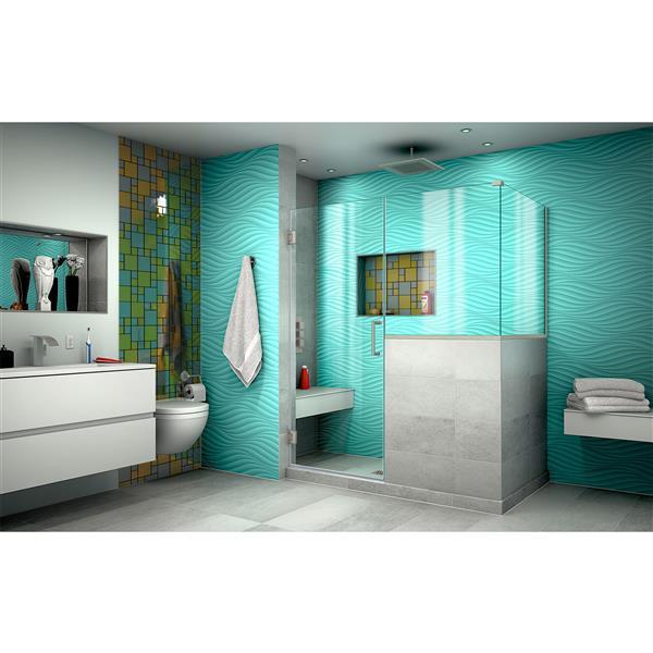 DreamLine Unidoor Plus Shower Enclosure - Clear Glass - 54-in - Brushed Nickel