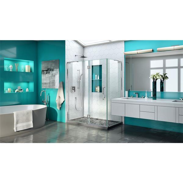 DreamLine Quatra Plus Shower Enclosure - Frameless Design - 46.38-in - Chrome
