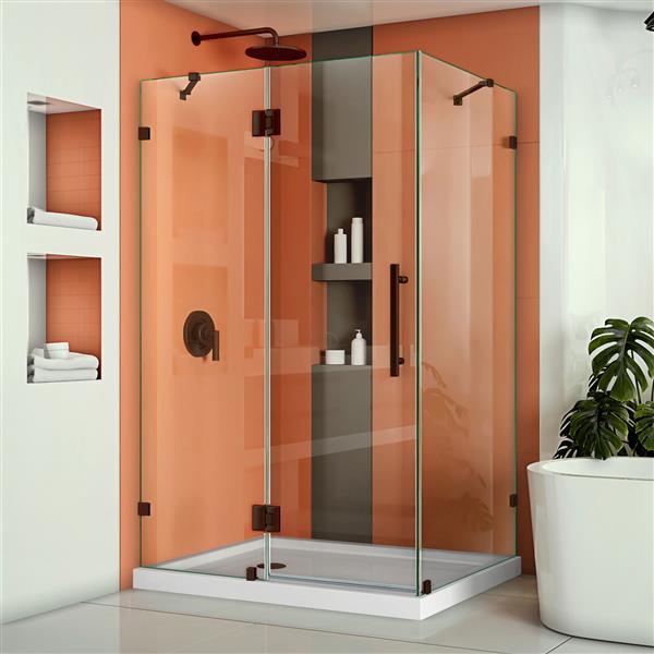 DreamLine Quatra Lux Shower Enclosure - Frameless Design - 46.38-in - Oil Rubbed Bronze