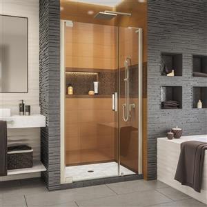 Porte de douche Elegance-LS de DreamLine, design sans cadre, 42,25-44,25 po, nickel brossé
