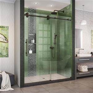 Porte de douche Enigma-XO de DreamLine, design sans cadre, 50-54 po, bronze huilé