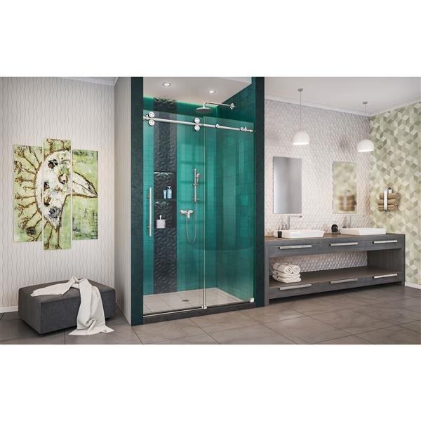 DreamLine Enigma-XO Shower Door - Frameless Design - 44-48-in - Polished Stainless Steel