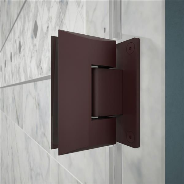 DreamLine Unidoor Plus Hinged Shower Enclosure - Frameless Design - 58-in - Oil Rubbed Bronze