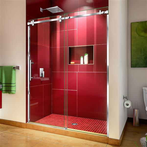DreamLine Enigma Sky Shower Door - Frameless Design - 56-60-in - Polished Stainless Steel