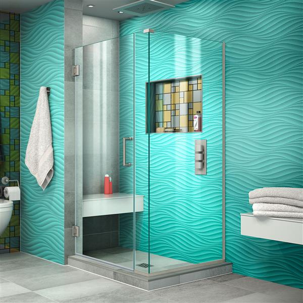 DreamLine Unidoor Plus Shower Enclosure - Frameless Design - 29.5-in - Brushed Nickel