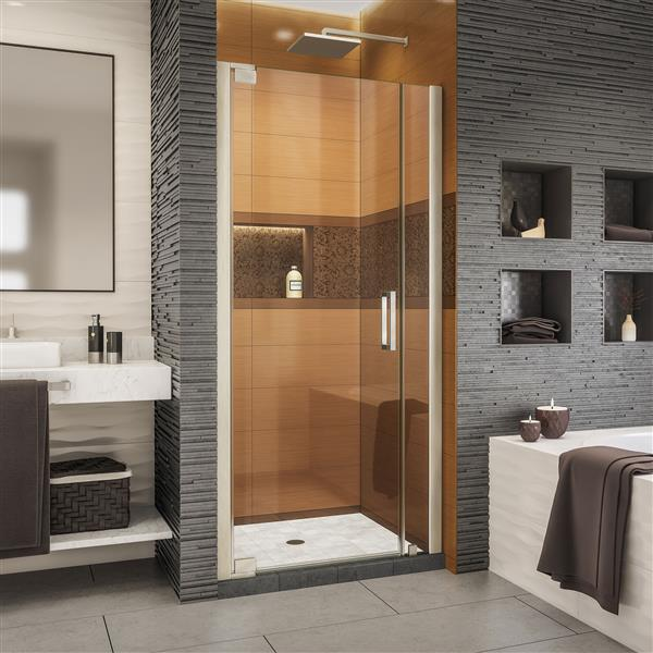 DreamLine Elegance-LS Shower Door - Frameless Design - 36.25-38.25-in - Brushed Nickel