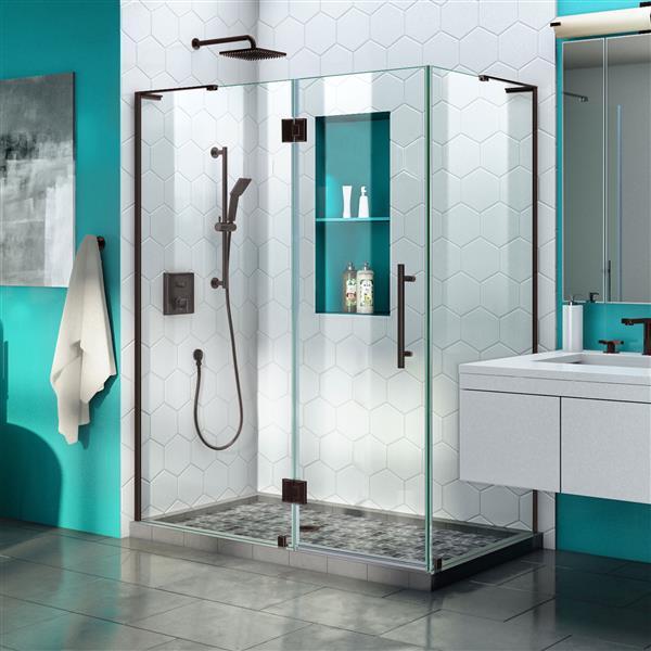 DreamLine Quatra Plus Shower Enclosure - Frameless Design - 52.38-in - Oil Rubbed Bronze