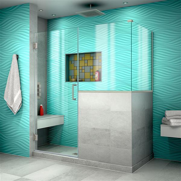 DreamLine Unidoor Plus Hinged Shower Enclosure - Frameless Design - 58-in - Brushed Nickel