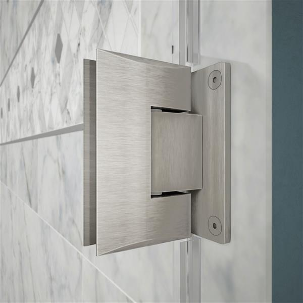 DreamLine Unidoor Plus Shower Enclosure - Frameless Design - 57-in - Brushed Nickel