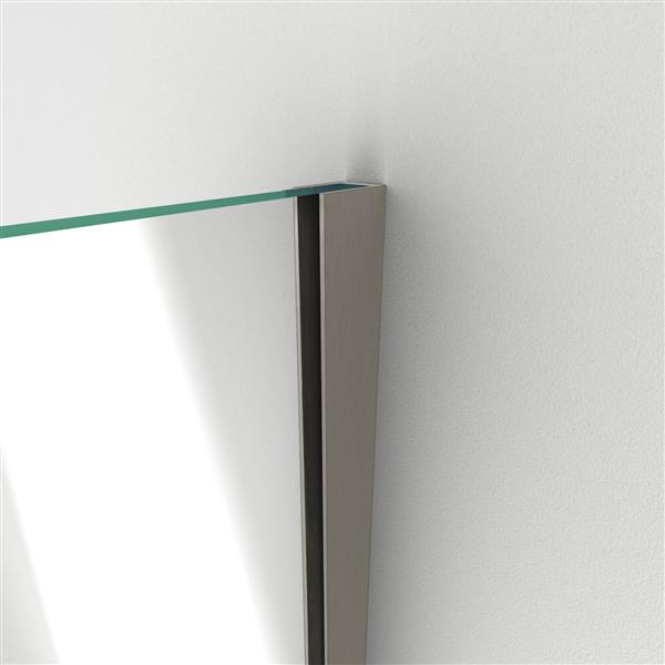 DreamLine Unidoor Plus Shower Enclosure - Hinged and Frameless Design  - 57-in - Brushed Nickel