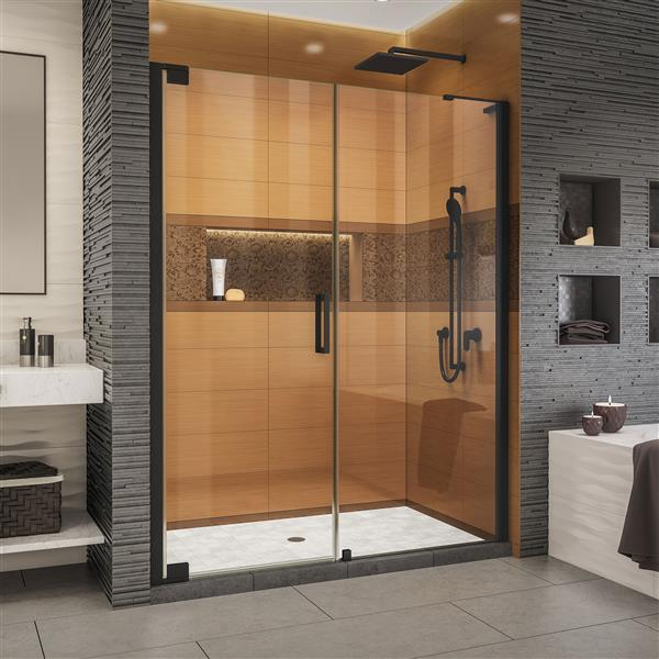 DreamLine Elegance-LS Shower Door - Frameless Design - 63.75-65.75-in - Satin Black
