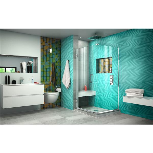 DreamLine Unidoor Plus Hinged Shower Enclosure - Frameless Design - 30-in - Chrome
