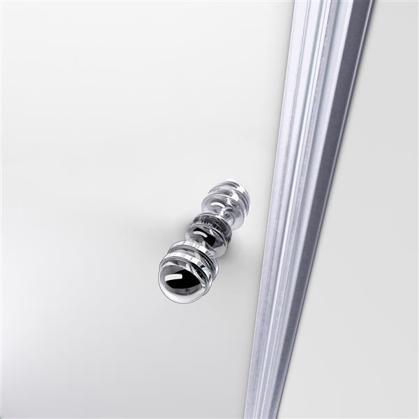 Porte de douche Allure de DreamLine, design sans cadre, 56-57 po, chrome