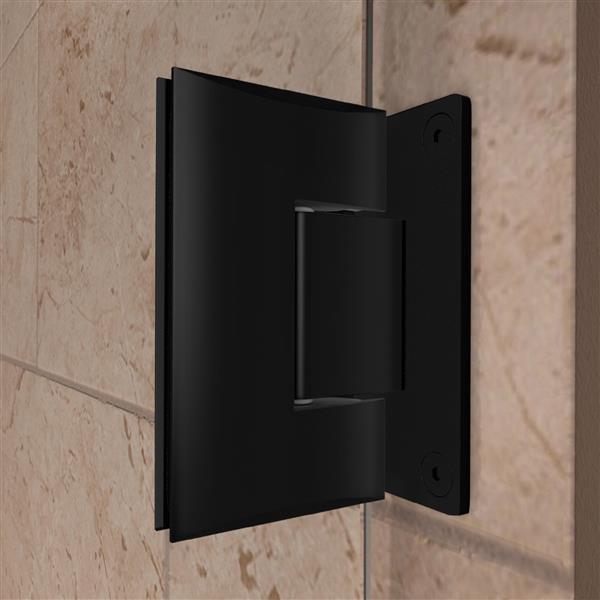 DreamLine Unidoor Plus Hinged Shower Enclosure - Frameless Design - 47-in - Satin Black