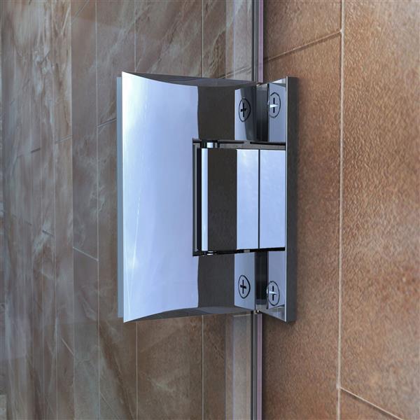 DreamLine Unidoor Plus Hinged Shower Enclosure - Frameless Design - 47-in - Chrome