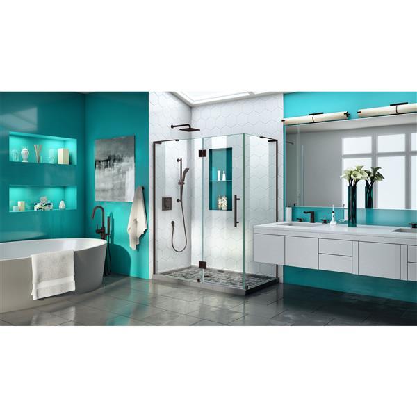 DreamLine Quatra Plus Shower Enclosure - Frameless Design - 58.38-in - Oil Rubbed Bronze