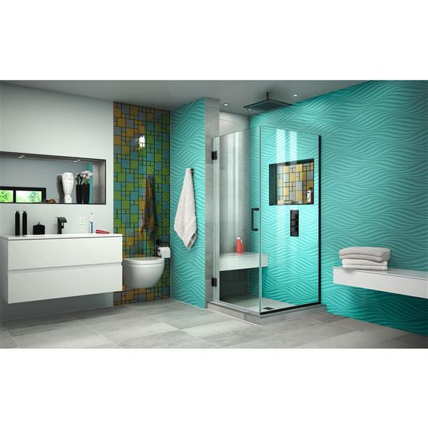 DreamLine Unidoor Plus Shower Enclosure - Frameless Design - 30.38-in - Satin Black