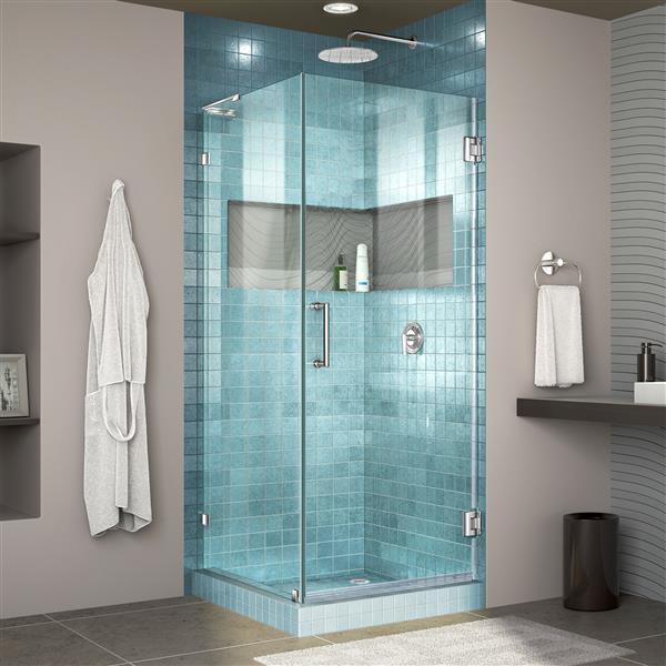 DreamLine Unidoor Lux Shower Enclosure - Frameless Design - 30.38-in - Chrome