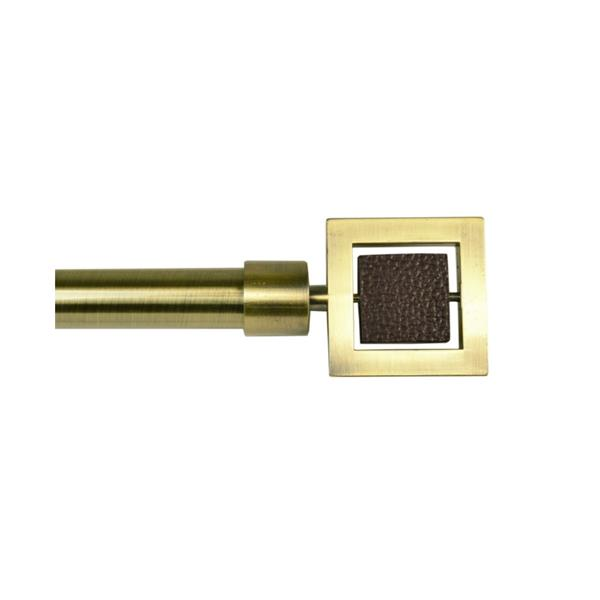 Tringle à rideaux ajustable Industria avec embouts Nexus, 72 -144 po, laiton antique
