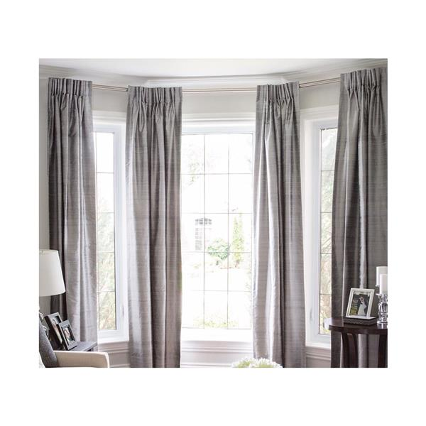 Versailles Home Fashions 43-78-in Bay Window Rod set with Mounting screw Finial - Brushed Nickel