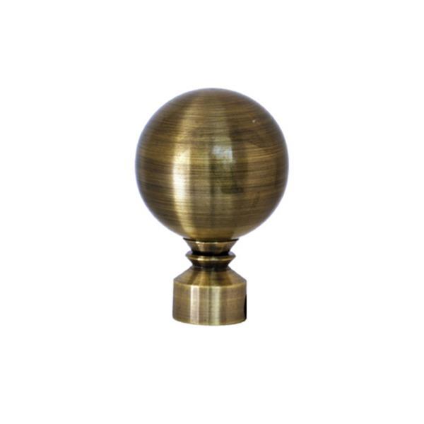 Tringle à rideaux ajustable Lexington avec embouts sphères 28 -48 po, laiton antique