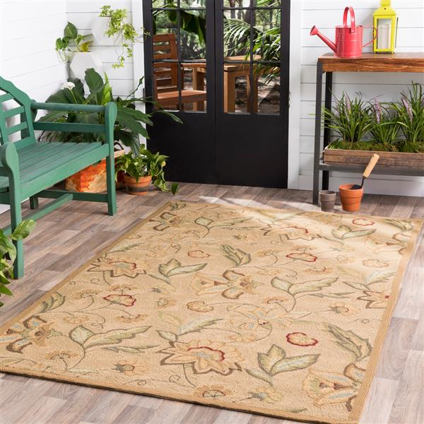 Surya Rain Indoor/Outdoor Area Rug - 8-ft - Round - Khaki