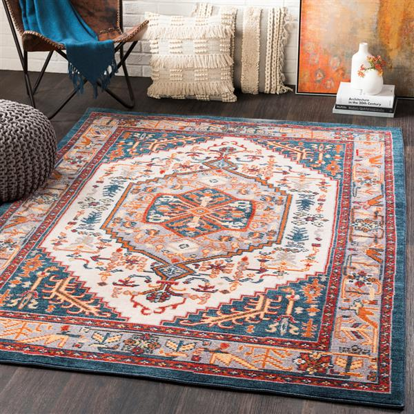 Surya Patina Updated Traditional Area Rug - 3-ft 11-in x 5-ft 7-in - Rectangular - Gray/Blush
