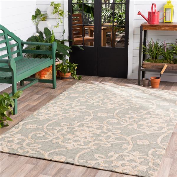 Surya Rain Indoor/Outdoor Area Rug - 10-ft x 14-ft - Rectangular - Seafoam