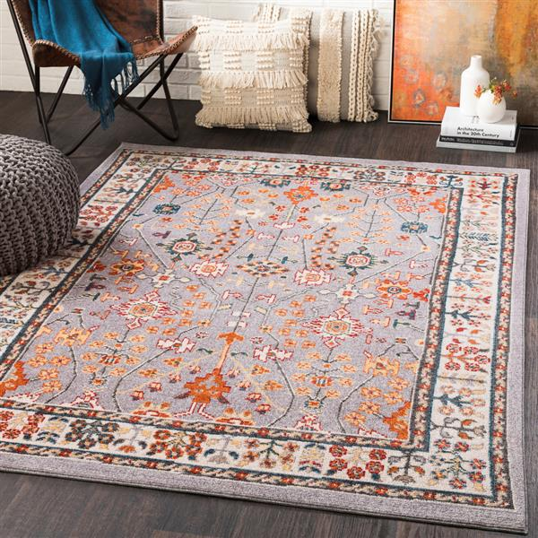 Surya Patina Updated Traditional Area Rug - 7-ft 10-in x 10-ft 3-in - Rectangular - Gray