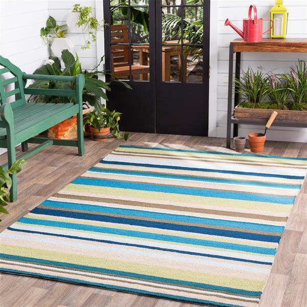 Surya Rain Indoor/Outdoor Area Rug - 8-ft - Round - Teal