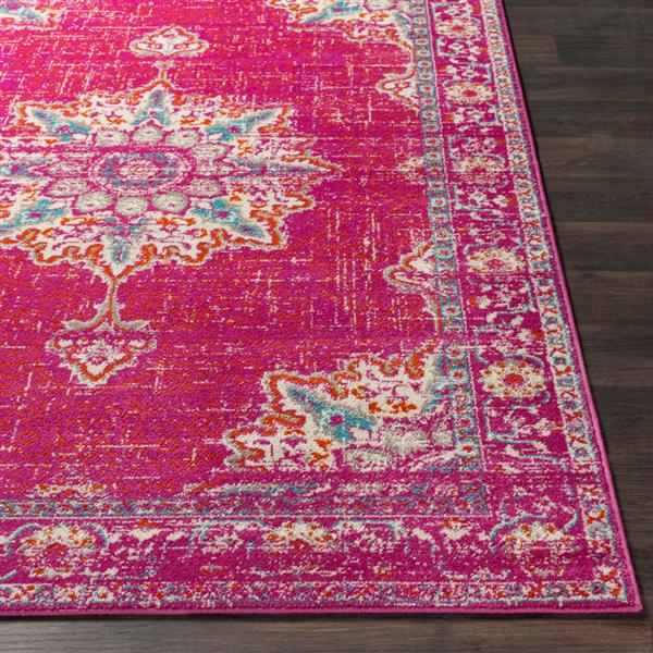 Surya Paramount Updated Traditional Area Rug - 6-ft 7-in x 9-ft 6-in - Rectangular - Fuchsia