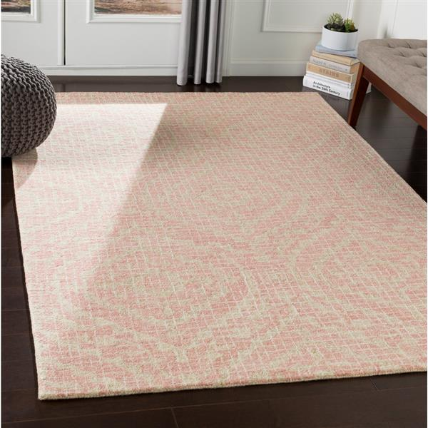 Surya Piastrella Traditional Area Rug - 9-ft x 12-ft - Rectangular - Coral