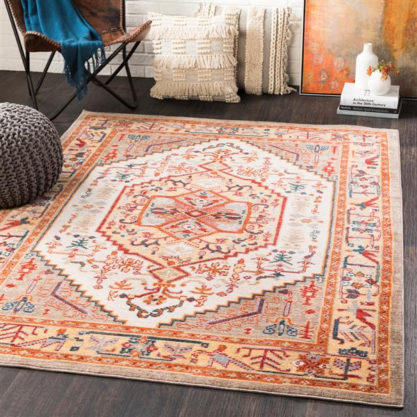 Surya Patina Updated Traditional Area Rug - 3-ft 11-in x 5-ft 7-in - Rectangular - Orange/Yellow