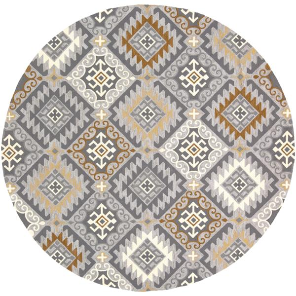 Surya Rain Indoor/Outdoor Area Rug - 8-ft - Round - Gray