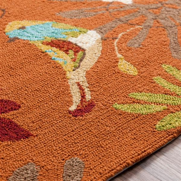 Surya Rain Indoor/Outdoor Area Rug - 8-ft - Round - Burnt Orange