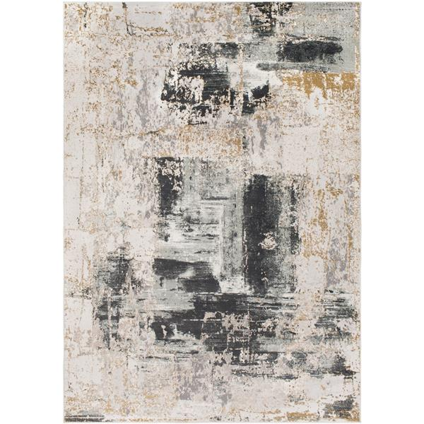 Surya Quatro Updated Traditional Area Rug - 6-ft 7-in x 9-ft 6-in - Rectangular - Charcoal