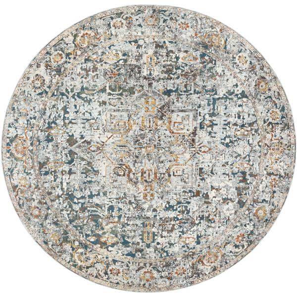 Surya Presidential Updated Traditional Area Rug - 7-ft 10-in - Round - Gray