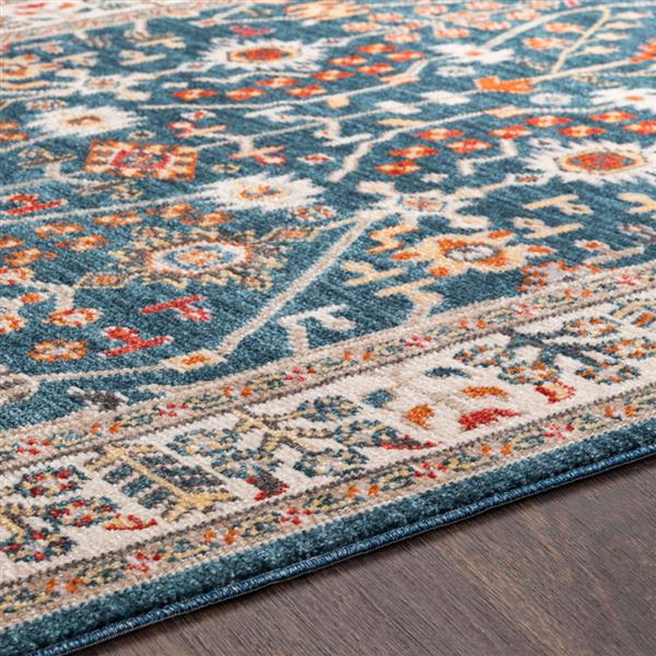 Surya Patina Updated Traditional Area Rug - 3-ft 11-in x 5-ft 7-in - Rectangular - Navy