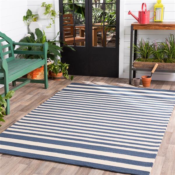 Surya Rain Indoor/Outdoor Area Rug - 8-ft - Round - Navy