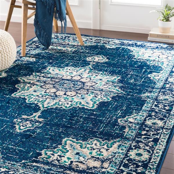 Surya Paramount Updated Traditional Area Rug - 6-ft 7-in x 9-ft 6-in - Rectangular - Navy