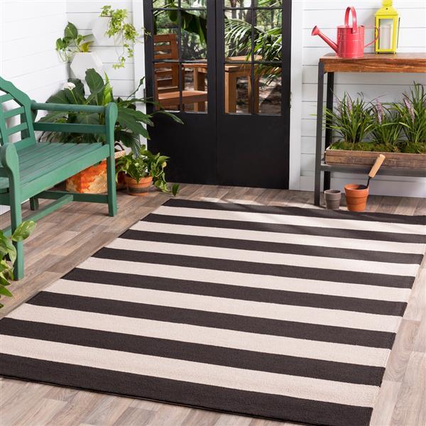 Surya Rain Indoor/Outdoor Area Rug - 8-ft - Round - Black